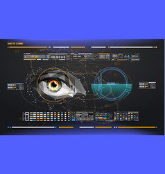 eye in process of scanning biometric scan with vector image