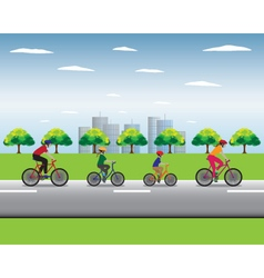 Father mother and kids biking vector image