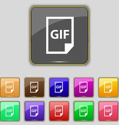 File GIF icon sign Set with eleven colored buttons vector image