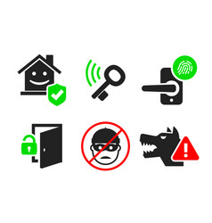 home security icon set 04 vector image vector image