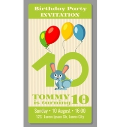 Kids birthday party cartoon animals invitation vector image vector image