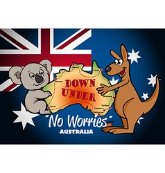 Map of Australia with Koala Kangaroo and flag vector image