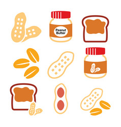 Peanuts peanut butter - food icons set vector