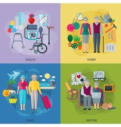 Pensioners life concept icons set vector