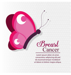 Pink butterfly breast cancer vector