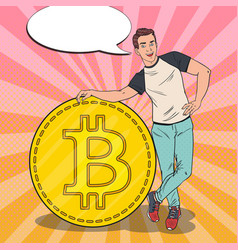 pop art man with big bitcoin cryptocurrency vector image