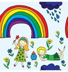 rainbow garden vector image vector image
