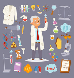 science man character professor lab icons vector image vector image