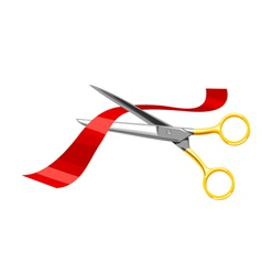 Scissors cut the red tape on white background vector image vector image