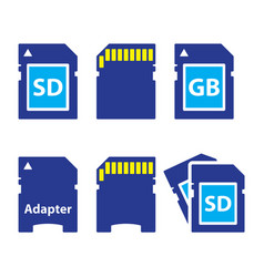 Sd memory card adapter icons set vector