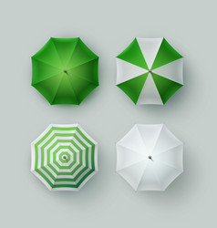 Set of white green rain umbrella parasol sunshade vector
