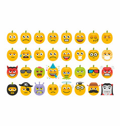 set pumpkins for halloween emoticons vector image vector image