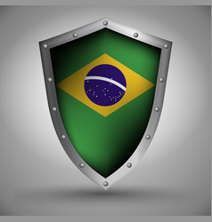 Shield with the brazilian flag vector