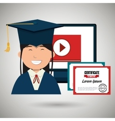 Student and diploma isolated icon design vector