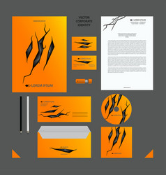 yellow corporate identity set vector image vector image