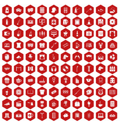 100 leisure icons hexagon red vector