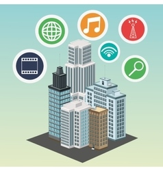 Apps building smart city icon graphic vector