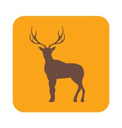 Silhouette of the deer flat deer icon vector