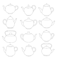 line tea pots signs vector image