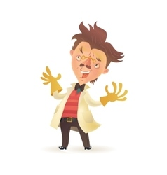 Mad professor wearing lab coat raising hands in vector
