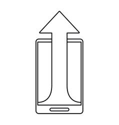 Mobile phone technology upload arrow outline vector