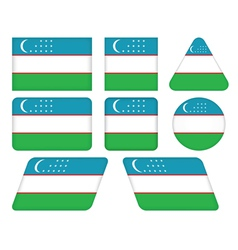 Buttons with flag of uzbekistan vector