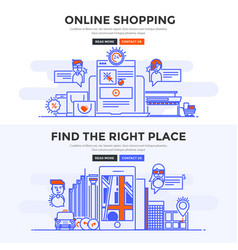 Flat design concept banner - online shopping and vector
