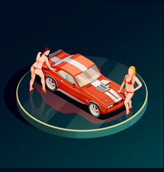 auto show girls composition vector image
