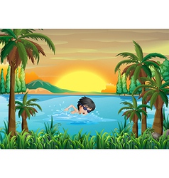A boy swimming at the lake vector image
