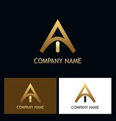 golden letter a logo vector image