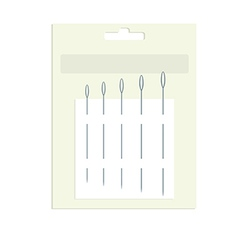 Sewing needles in product packaging vector image