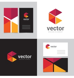 Logo design element with two business cards - 17 vector