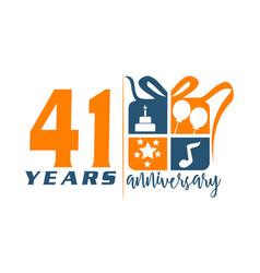 41 year gift box ribbon anniversa vector