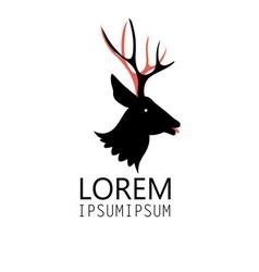 Graphic sign of a deer head on a white background vector image