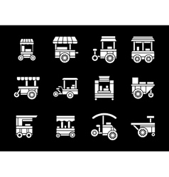 White glyph style trade trolleys icons set vector