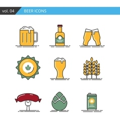 Vintage line beer icons set isolated vector image
