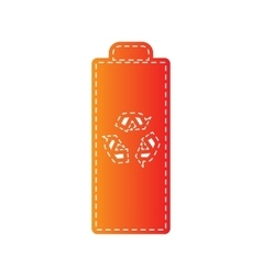 Battery recycle sign  orange applique vector