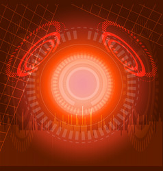 abstract digital technology red background vector image vector image