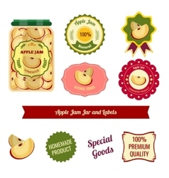 Apple jam jar and labels vector