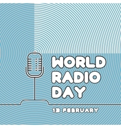 Banner for World radio day on blue background vector image