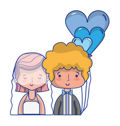 Beauty couple married with hairstyle design vector