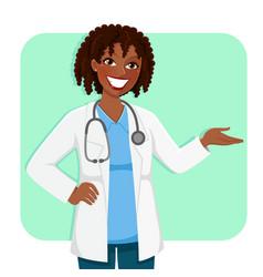 black female doctor vector image