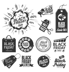Black friday sale vintage labels set vector image vector image