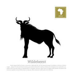 black silhouette of wildebeest african animals vector image vector image