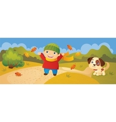 Boy walking in autumn park vector