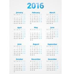 Calendar for 2016 year design print template week vector