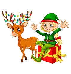 Christmas theme with elf and reindeer vector image vector image