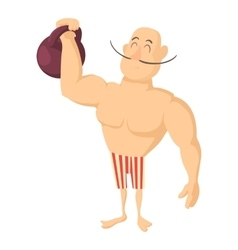 Circus strong man icon cartoon style vector