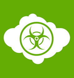 Cloud with biohazard symbol icon green vector