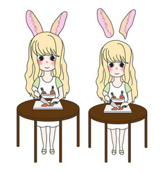 curly long hair girl with rabbit ears cutting vector image
